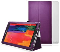 Ionic Stand Leather Case For Samsung Galaxy Tab Pro 8.4 TabPro 8.4 (Purple) by CrazyOnDigital