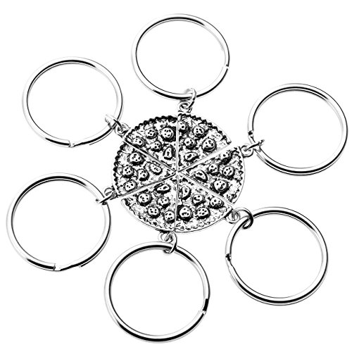 Top Plaza 6pcs/set Antique Silver Assorted Alloy Pizza Slice Key Chain Key Ring