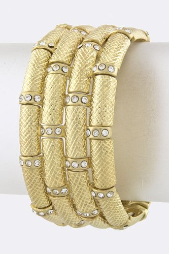 Karmas Canvas Textured Metal Bar Bracelet (Gold) front-1065555