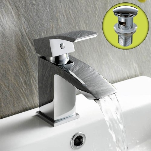 Curved Basin Mixer Tap with Pop Up Sink Waste