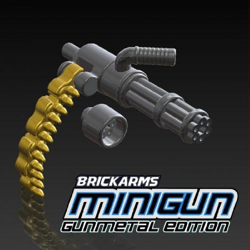 BrickArms-25-Scale-LOOSE-Weapon-Gunmetal-Minigun-with-Brass-Ammo-Chain