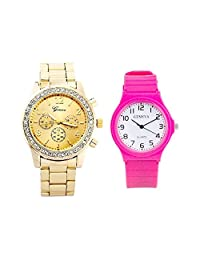 COSMIC GENEVA Stainless Steel Strap Gold Color Dial Unisex Watch With Date Feature With Free Geneva Slimmest Analog...
