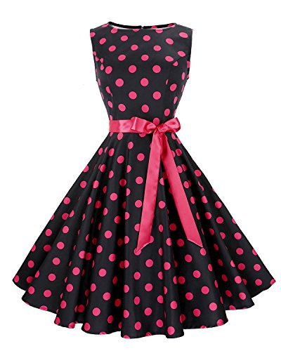 Anni Coco Women's 1950s Hepburn Vintage Swing Dresses With Ribbon Belt Black & Rose Red Polka Dots Small