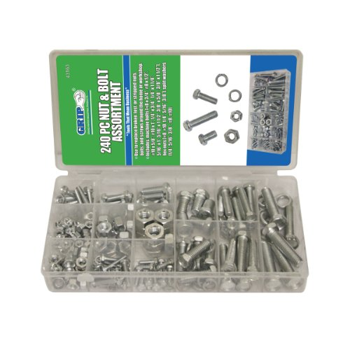 Grip Nut & Bolt Assortment-Sae, 240 Piece (Nuts And Bolts Sae compare prices)