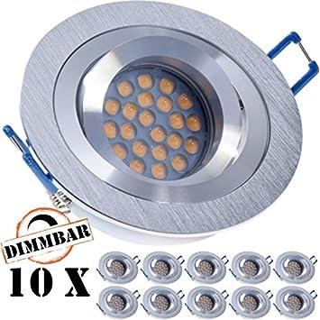 10 St LED Decken-Einbaustrahler CIRC chrom matt schwenkbar GU10 5,8W 320lm weiß