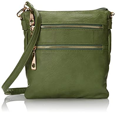 Zippered Cross Body Handbag (Green)