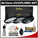 Vivitar Series 1 3-Piece Multi-Coated HD Pro Filter Set (40.5mm UV/CPL/ND8) with Nikon Cleaning & Accessory Kit for Nikon 1 V1, J1 Interchangeable Lens Digital Camera with 10mm f/2.8, 30-110mm VR & 10-30mm Lens