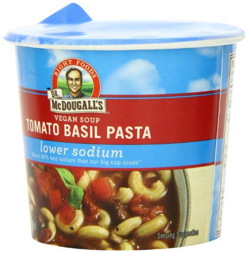 Dr. McDougall's Right Foods Vegan Tomato Basil Pasta Soup, Lower Sodium, 1.3-Ounce Cups (Pack of 6) (Vegan Foods Grocery compare prices)