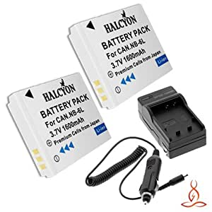 Two Halcyon 1600 mAH Lithium Ion Replacement Battery and Charger Kit for Canon Power Shot SX510 HS Point-and-Shoot Camera and Canon NB-6L