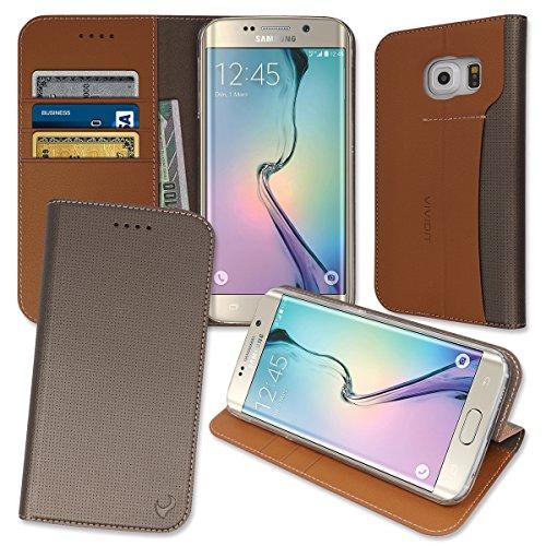 [S6 Edge Slim Wallet Case, Samsung Galaxy S6Edge Kickstand 4 ID, Credit Card, Cash Slots Textured Leather Diary Flip Folio Cover] (Lady Gaga Video Costumes)