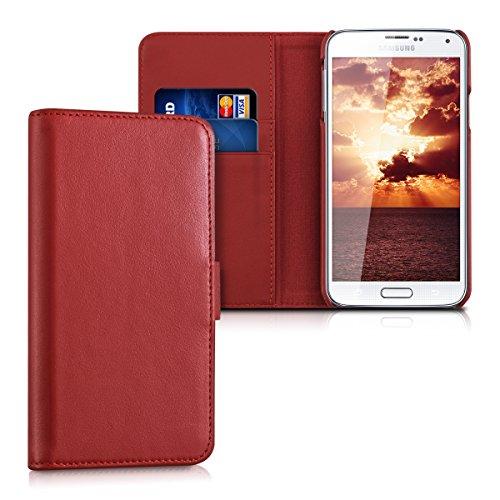 kalibri-Leder-Hlle-James-fr-Samsung-Galaxy-S5-S5-Neo-S5-LTE-S5-Duos-Echtleder-Schutzhlle-Wallet-Case-Style-mit-Karten-Fchern-in-Rot