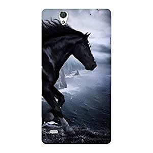 Enticing Premier Black Horse Back Case Cover for Sony Xperia C4