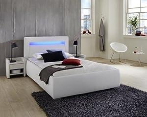 sam polsterbett 90 x 200 cm wei lumina polster bett led. Black Bedroom Furniture Sets. Home Design Ideas