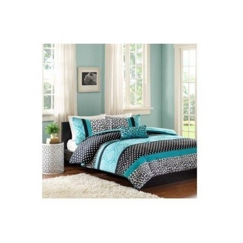 Comforter Bed Set Teen Bedding Modern Teal Black Animal Print Girls Bedspead Update Home (Full/Queen)