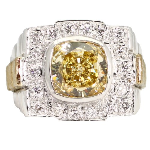 Gent's Canary CZ & Pave Rolex-Style Diamond Ring 14K TuTone Gold