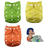 Nooya Reusable and Washable Pocket Baby Cloth Diaper Nappy (3 Diaper Covers + 6 FREE Inserts) - One Size with Adjustable Snaps Fits Babies from Newborn Toddlers (6)