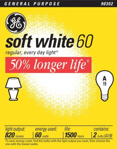 Ge 97496-24 Soft White Long Life General Purpose A19 Bulb, 60-Watt, 24-Pack