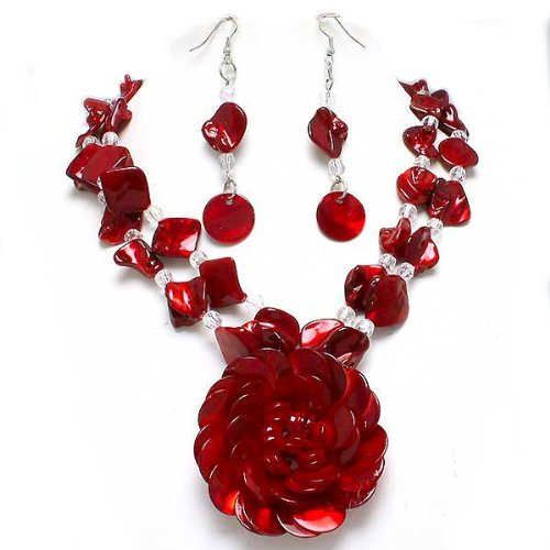 Beautiful Chunky Red Shells Beads Flower Pendant Statement Necklace and Earrings Set Fashion Jewelry