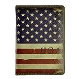 ZLYC Vintage Style US Flag Travel Passport Cover Holder
