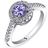 0.50 Carat Tanzanite Halo Ring Sterling Silver Sizes 5 to 9