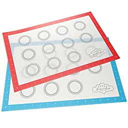 BakeitFun Silicone Baking Mat Set With Measurements | Set of 2 | Half Sheet 16-1/2'' x 11'' | Fits 18'' x 13'' Sheet | Oven And Microwave Safe | Bonus Digital Cookbook | Professional Double Set Edition