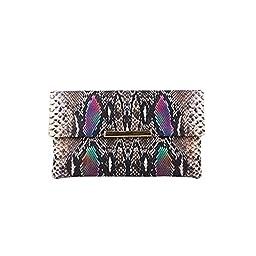 LADODO Python Skin Bicast (PU) Leather Folder Clutch Handbags(gold and purple)