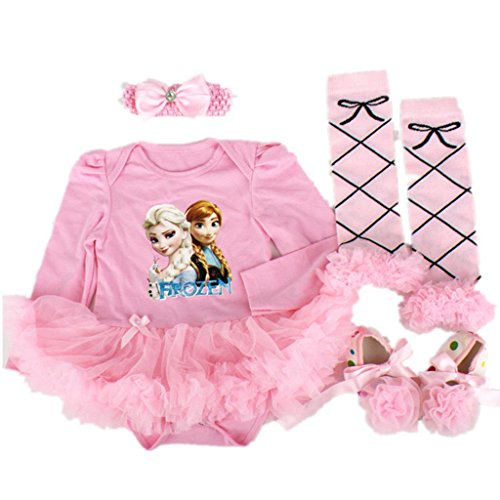 Starkma 4PC/LOT Elsa Newborn Infant Baby Girl Set Clothe Long Sleeve Cake Dress F04