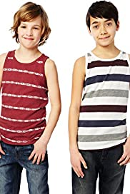 2 Pack Striped Vest Tops