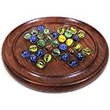 Marble Peg Solitaire with Glass Balls Hand Carved Wooden Brainvita Board Game
