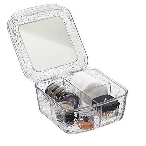 mDesign Scatola Organizzatore Cosmetici con Specchio per Armadietto per Tenere Trucco, Prodotti di Bellezza - Trasparente