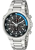 Citizen Endeavor Men's Quartz Watch with Black Dial Chronograph Display and Silver Stainless Steel Bracelet CA0440-51E