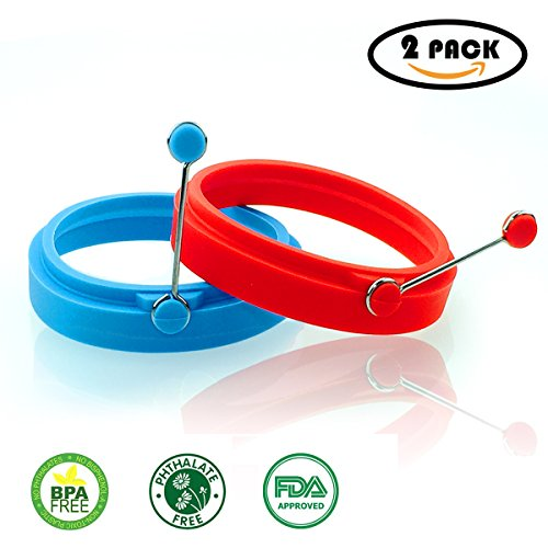 Bon Form Home Kitchen Egg Ring, Create Perfect Fried Eggs, Pancakes, and Omelets - Including 2 Pieces (Elegant Red& Blue)