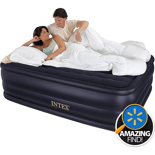 "22"" Rising Comfort Airbed Mattress W/ Built-In Electric Pump Waterproof Flocked"