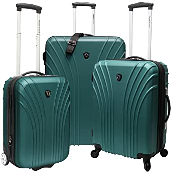 Travelers Choice Luggage 3-Piece Hardside Ultra Lightweight Set, Green, Large
