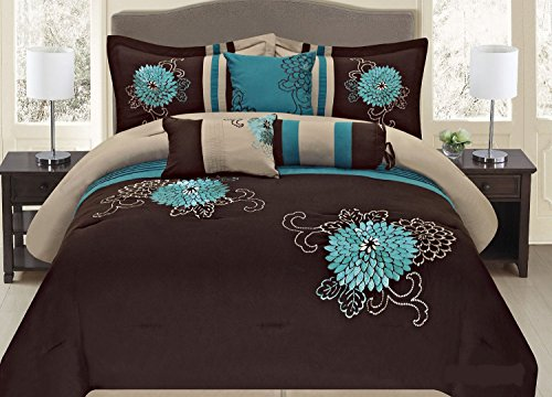 Fancy Collection 7-Pc Embroidery Bedding Brown Turquoise Comforter Set (Queen) front-993444