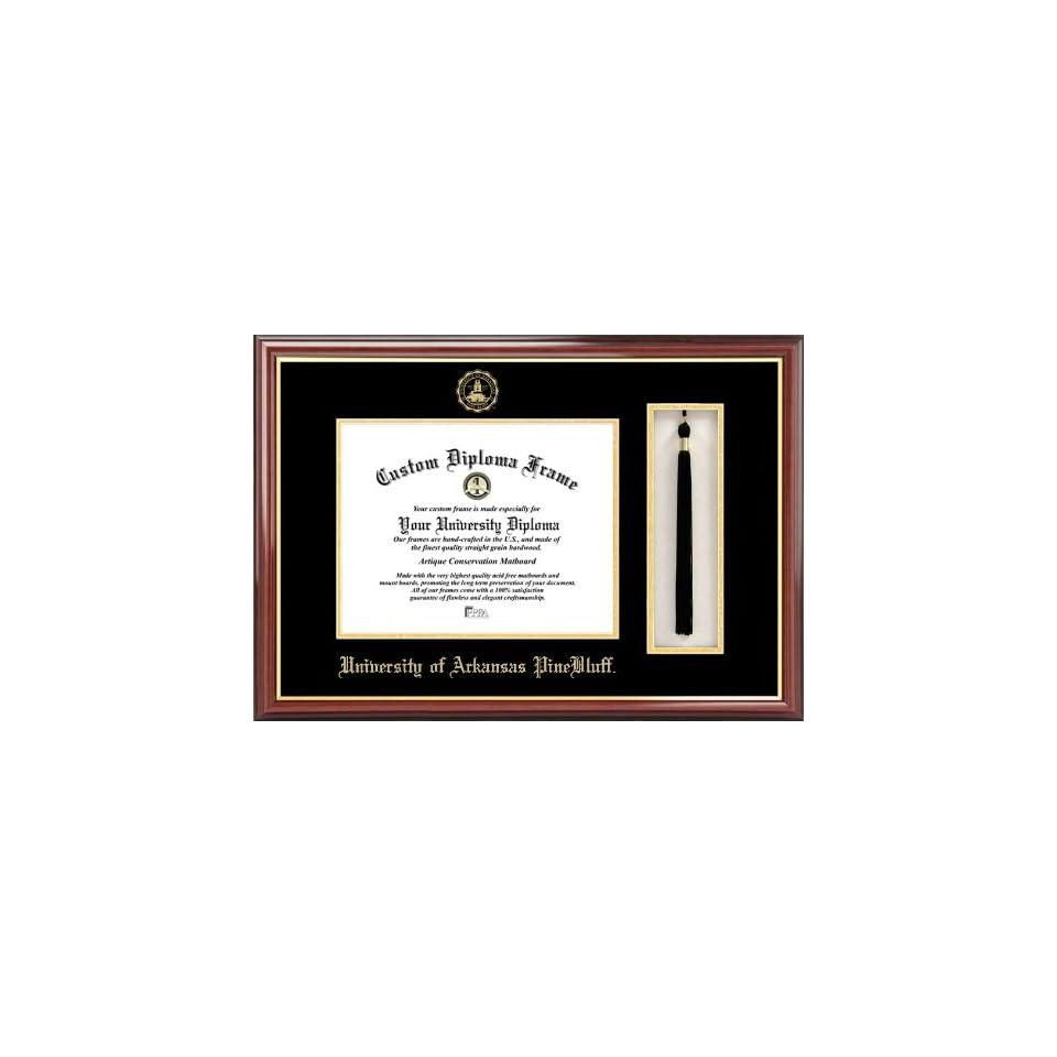 Univ. of Arkansas Pine Bluff Golden Lions   Embossed Seal   Tassel Box   Mahogany   Diploma Frame