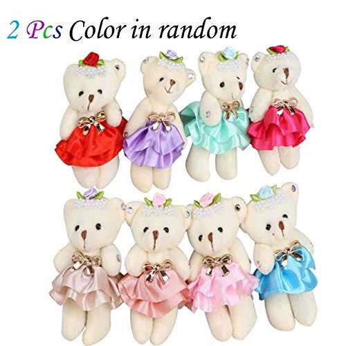 Cute&Lovely Skirt Diamond Teddy Bear 4.7In Joint Bear Plush Toys Cotton Doll Animal Toys Doll Baby Kids Stuffed Toy,Great Wedding Gift Chrimas Gift Birthday Gift for Boys and Girls(2Pcs)