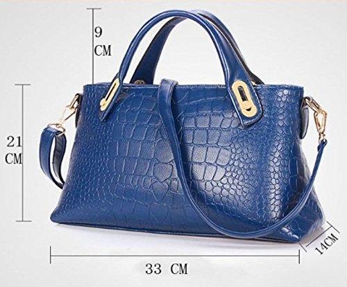Maison De Decoration©Sac Bandoulière sac d'emballage de Sapphire Blue Cow en cuir pour femme Sac Crocodile (Bleu)