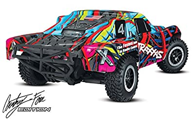 Traxxas 58034-2 Slash 2WD Truck with Audio Courtney Force (1/10 Scale), Blue/Red