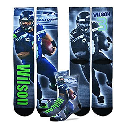 Russell Wilson Seattle Seahawks For Bare Feet NFL Drive Player Profile Socks