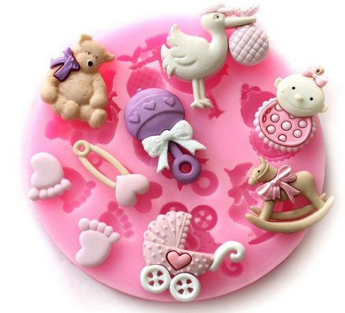Allforhome Cute Baby Feet Shower Fondant And Gum Paste Silicone Resin Candy Moulds Cake Decoration Molds
