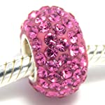 Pro Jewelry 925 Sterling Silver Birthstone October Rose / Pink Crystal Spacer Bead