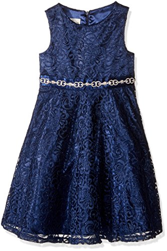 American Princess Big Girls' All Over Lace with Rhinestone Waist Band Party Dress, Navy, 10
