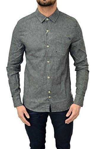 Bellfield -  Camicia Casual  -  Vestito modellante  - Button-down classico  - Maniche lunghe  - Uomo Grey Linen Small