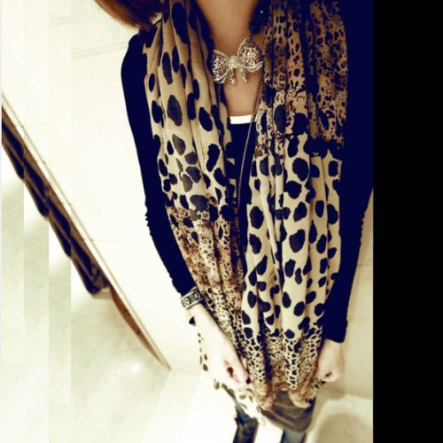 Zicac Women Fashion Long Soft Wrap Lady Shawl Leopard Chiffon Long Scarf Scarves Stole