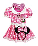 Minnie's Classic Dress, Pink with white polka dots and bow (2T-4T)