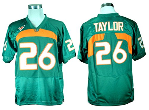 2016-2017 New Sean Taylor 26 College Football Jersey Mens Green L/50 (Miami College Football Jersey compare prices)