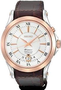 Mens Watch Seiko SNQ126 Premier Premier Perpetual Calendar Rose Gold Tone Case W