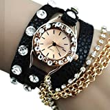 Zeagoo womens Rhinestone Synthetic Leather Quartz Wrist Watch