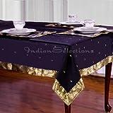 "Black - Handmade Sari Oblong Tablecloth (India) - 60 X 84"""